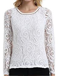 Tee-shirt Femme,Couleur Pleine Décontracté / Quotidien Grandes Tailles simple Toutes les Saisons Manches Longues Col ArrondiRayonne