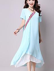 Sign large size women's national wind long section of chiffon dress cheongsam dress China style dress