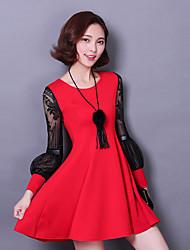 Long-sleeved lace dress spring 2016 spring Korean version of tutu skirt ladies stitching skirt