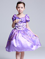 Ball Gown Knee-length Flower Girl Dress - Cotton Satin Tulle Square with Bow(s) Ruffles