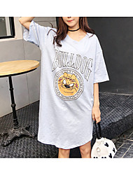Sign 2017 spring and summer / split large size women long section of bamboo cotton short-sleeved dress
