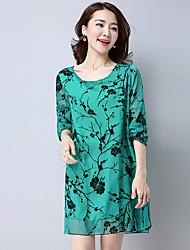 Знак весной и летом высокого класса печати ретро корейский дикий темперамент был тонкий женский цветочный флокирование