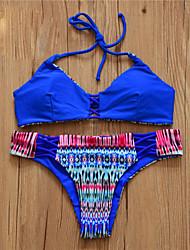 Bikinis Aux femmes Bohème Rubans Licou Spandex