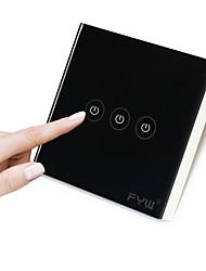 Fyw trois gang touch remote controler pas besoin de couper le câblage mural la télécommande à l'intérieur peut être à 30 mètres distance