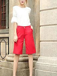 Femme simple Taille Haute Extensible Chino Short Pantalon,Ample Couleur Pleine