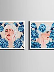 E-HOME® Framed Canvas Art Women And Blue Flowers Framed Canvas Print One Pcs