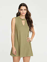 Ample Robe Aux femmes Décontracté / Quotidien Sexy,Couleur Pleine Col Roulé Mini Sans Manches Bleu / Vert Coton Eté