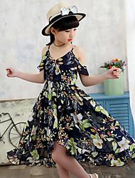 Girl's Floral Dress,Polyester Summer Sleeveless