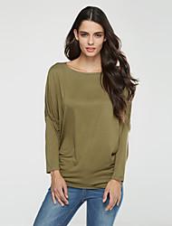 Damen Solide Übergröße T-shirt,Bateau Herbst Langarm Baumwolle Mittel
