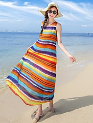 Women's Beach Loose Dress,Striped Round Neck Maxi Sleeveless Silk Summer Mid Rise Micro-elastic Thin