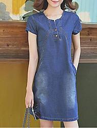 Тонкий ковбой платье женский 2017 весной и летом новые корейские ярды была тонкой свободной джинсовой юбке юбки-лайн