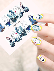 10pcs/set Hot Fashion Nail Art Water Transfer Decals Beautiful Girl Design Sticker Fashion Girl Nail Art Beauty STZ-182