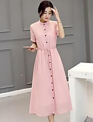 assinar 2017 versão coreana do grande tamanho mulheres longa seção esguio e elegante mulheres vestido de chiffon de manga curta vestir