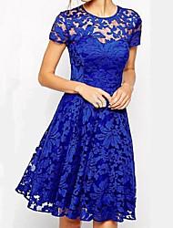 горячая новая мода в Европе и Америка темперамент вокруг шеи короткого рукав кружевного платья