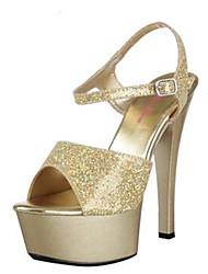 Damen-High Heels-Lässig-PUKomfort-Gold Weiß Schwarz