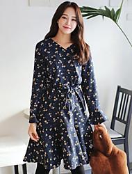 Coreia novos itens primavera v-neck cintura era vestido fino