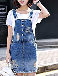 Вход весной 2017 новых отверстие джинсовой ремень платье потерять большой ярдов студент был тонкий юбка подтяжки