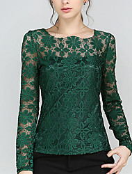 Women's More Sizes Lace Long Sleeves Shirt (More Colors)
