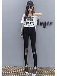 Percer les vrais trous de tir dans le nouveau pantalon extensible imitation pantalon de jeans version coréenne de jambières de pantalons
