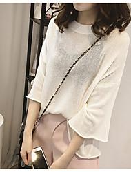 свитер хеджирования женский весной и летом 2017 новый корейский моды сплошной цвет больших ярдов вокруг шеи футболку рукав рубашки