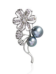 Women's Brooches Imitation Pearl RhinestoneBasic Unique Design Flower Style Natural Friendship Double Pearls Imitation Pearl Handmade