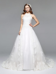 2017Lanting Bride® A-line Wedding Dress Simply Sublime Floor-length Halter Lace Tulle with Lace