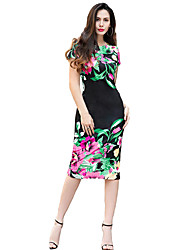 Women's Casual/Daily Formal Club Simple Sheath Dress,Print Round Neck Midi Short Sleeve Blue Red Black Polyester All Seasons Low Rise