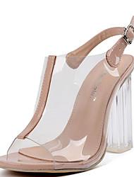 Feminino-Sandálias-Shoe transparente-Salto Grosso-Amêndoa-Borracha-Social