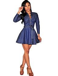 European and American big fashion ladies single breasted denim long-sleeved lace dress waist A-line dress