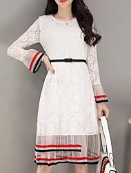 Sign 2017 spring new hollow white lace dress Korean version bottoming skirt ladies temperament dress