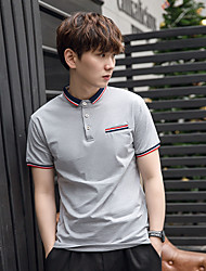 Short-sleeved t-shirt male cotton summer men's collar Slim solid color short-sleeve dress lapel Men's Polo Shirts