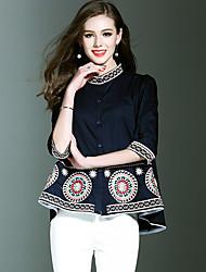 Feminino Camisa Social Casual Férias Vintage Moda de Rua Sofisticado Primavera Verão,Floral Bordado Algodão Poliéster Colarinho Chinês