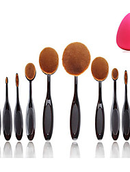 10pcs Set Pro Oval Toothbrush Shaped Foundation Face Makeup Beauty Cream Brushes