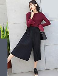Модель реальный выстрел 2017 весной новый корейский вариант широкой ноги семь сплошной цвет гофрированные тонкие случайных брюки женщин