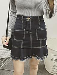 Sign Nett open wire spring denim skirt flounced skirt skirts skirt bottoming wild