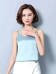 Women's Going out Casual/Daily Sexy Cute Summer Tank Top,Solid Round Neck Sleeveless Polyester Thin
