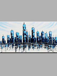 Hand-Painted Abstract  Urban Construction Modern One Panel Canvas Oil Painting For Home Decoration