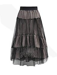 style européen 2017 printemps et jupes à carreaux couture fil net été place