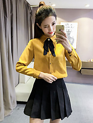 Sign 2017 spring new Korean fashion bow corduroy long-sleeved shirt female loose wild Tops
