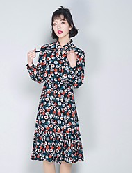 Women's Going out Loose Dress,Floral Crew Neck Midi Long Sleeve Silk Spring Summer Mid Rise Micro-elastic Thin