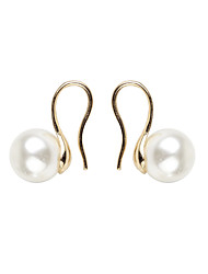 Clip Earrings Pearl Alloy Fashion Circle Gold/White Jewelry Daily Casual 1 pair