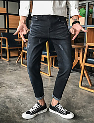 2017 summer new Japanese small harbor wind solid color straight leg jeans straight Slim Men pantyhose