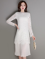 White stitching lace dress spring and autumn 2017 new long-sleeved base long section was thin women