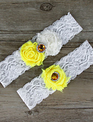 2pcs/set Yellow And Milk White Satin Lace Chiffon Beading Wedding Garter