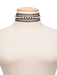 Women's Choker Necklaces Imitation Pearl Obsidian Pearl Imitation Pearl Lace JewelryUnique Design Imitation Pearl Fashion Personalized