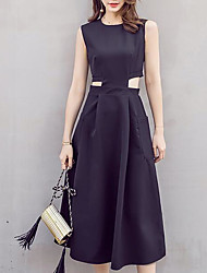 Women's Going out Sheath Dress,Solid Round Neck Midi Sleeveless Silk Summer Mid Rise Micro-elastic Thin