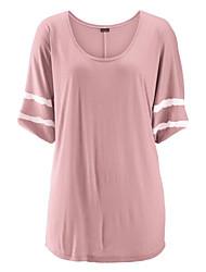 Damen Solide Retro Urlaub T-shirt,Rundhalsausschnitt ½ Länge Ärmel Baumwolle
