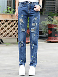 Sign hole paint spring waist jeans female student was thin big yards personality beggar pants wild