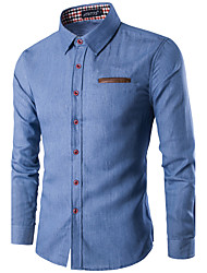 The Latest Men's Fashion Leather Pocket Wash Leisure Long-Sleeved Denim Shirt