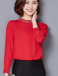 The new Miss Han edition real shot solid color shirt collar long-sleeved chiffon shirt shirt shirt